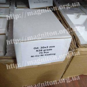 магніт диск 30х2 мм , магніт купить в Україні