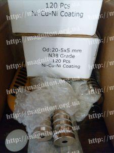 магніт неодимовий кільце 20-5х5 мм