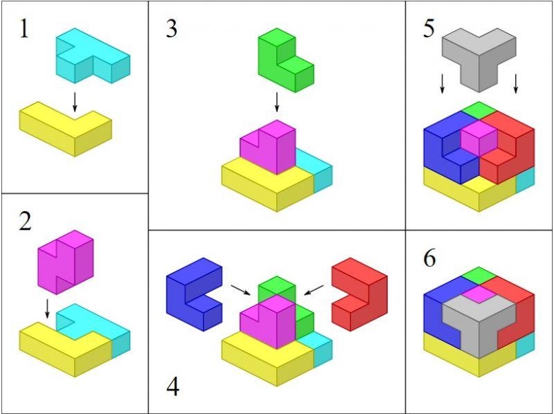 вариант решения как собрать магнитный кубик сома
